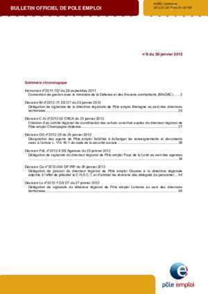 Attestation d assurance auto : BULLETIN OFFICIEL DE POLE EMPLOI