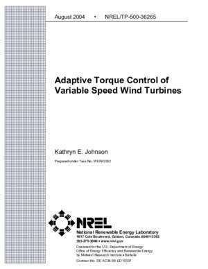 Adaptive control : Adaptive Torque Control of Variable Speed Wind Turbines