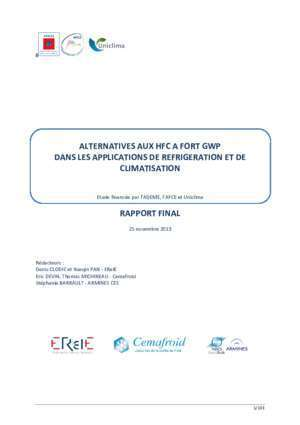 Experts climatisation : Rapport Alternatives HFC cemafroid fr