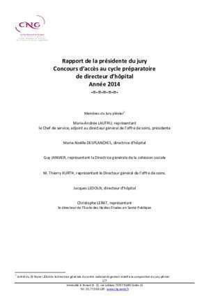 Candidats admis au cycle b : Rapport du jury CNG