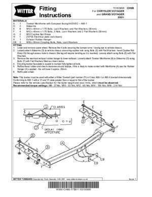 fitting instruction - template - Witter Towbars