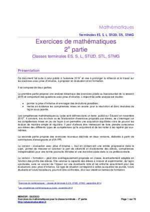 2nde exercice math listes des fichiers pdf 2nde exercice math : Exercices de mathématiques, 2e partie,Classes terminales