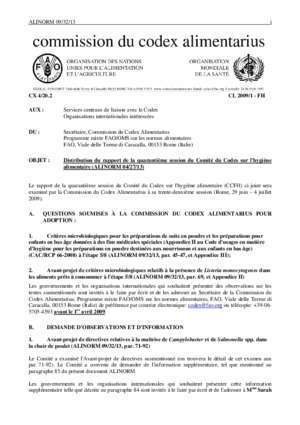 Programme mixte fao oms sur les normes alimentaires. commission du codex aliment : Alinorm 09 32 13 Food and Agriculture Organization of the United