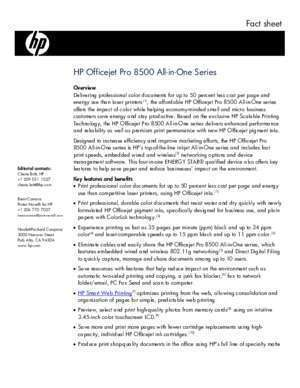 Fact sheet HP Officejet Pro 8500 All-in-One Series