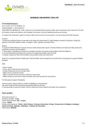Offre BUSINESS AND MARKET ANALYST - Civiweb.com