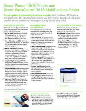 3615 : Phaser® 3610 Printer and WorkCentre® 3615 Multifunction