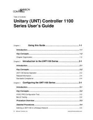 1100 s : Unitary (UNT) Controller 1100 Series User s Guide