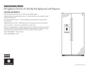 4 e ft : F D E GSS25GSH GMH C GE Appliances 25 4 Cu Ft Side-By