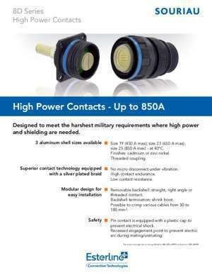 High Power Contacts - Up to 850A - Souriau Esterline