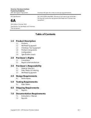 Table of Contents - API