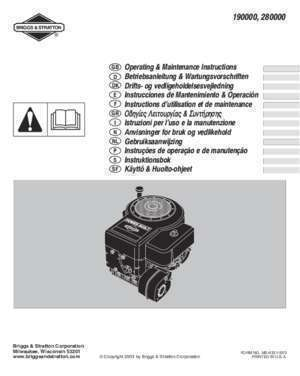 Alerte vidange : Document Briggs & Stratton Engines