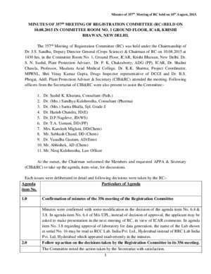 357th : MINUTES OF 357th MEETING OF REGISTRATION COMMITTEE (RC