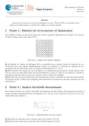 1 Partie 1 : Matrices de co-occurrence et binarisation 2 Partie 2 ... - fil