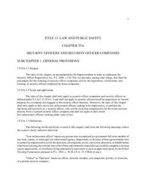 TITLE 13. LAW AND PUBLIC SAFETY CHAPTER 55A SECURITY