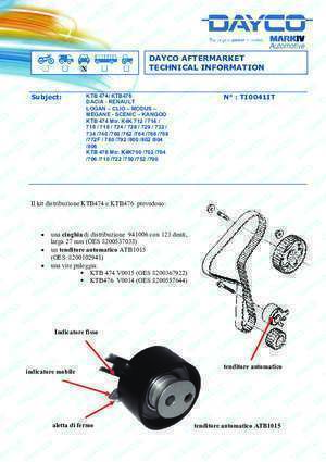 Bulloni testata : DAYCO AFTERMARKET TECHNICAL INFORMATION