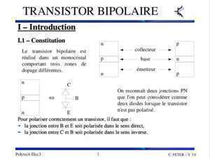 Base commune etude cours : Transistor bipolaire