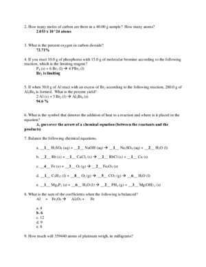 Chem 1100 Chapter Three Study Guide Answers