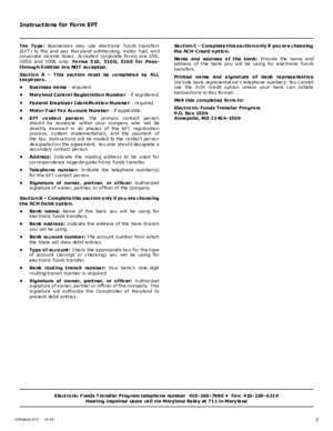 Eft : FORM EFT Complete this section Maryland Tax
