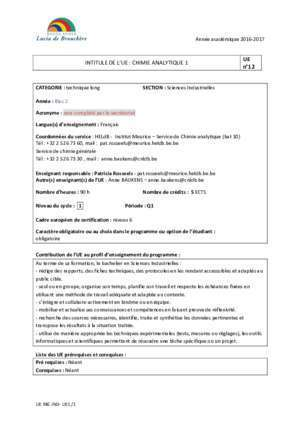INTITULE DE L'UE : CHIMIE ANALYTIQUE 1 UE n°12