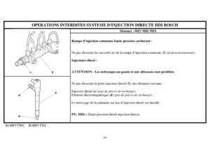OPERATIONS INTERDITES SYSTEME D'INJECTION DIRECTE HDI BOSCH