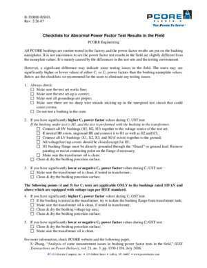 Checklists for Abnormal Power Factor Test Results
