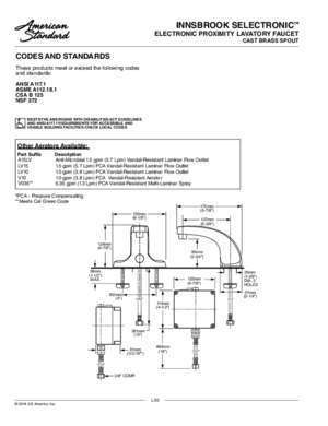 MODEL NUMBER: CODES AND STANDARDS ASME A112.18