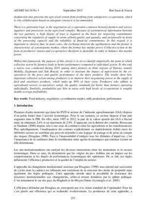 Contractualisation et performance de l'agroalimentaire: as
