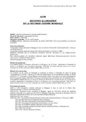AJ/40 ARCHIVES ALLEMANDES DE LA SECONDE GUERRE
