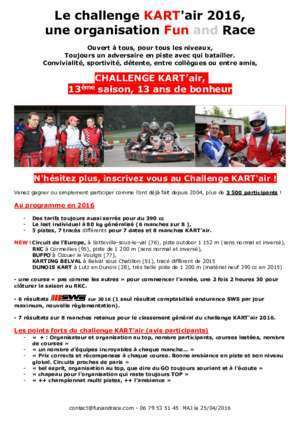 REGLEMENT GENERAL CHALLENGE KART'air - Fun and Race