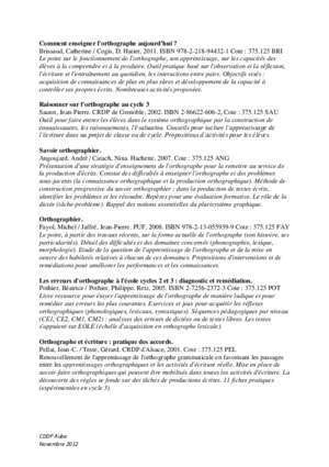94432 : Outils pour enseigner l orthographe cndp fr
