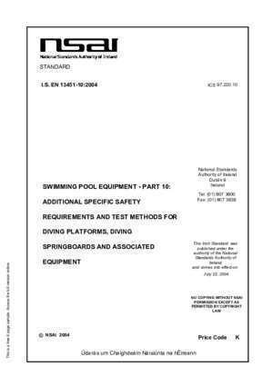 13451 10 : National Standards Authority of Ireland Dublin 9 SWIMMING