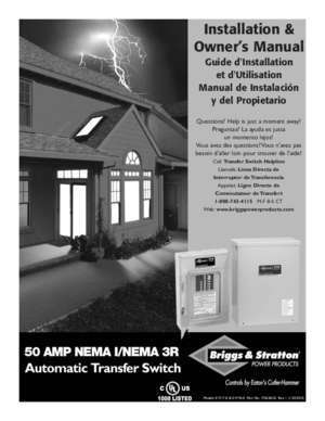 Brigg switch code : Installation & Owner s Manual NoOutage