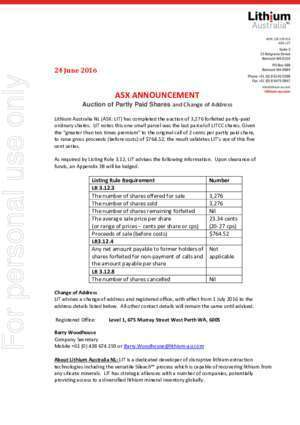 4383 : Auction of Partly Paid Shares For personal use only