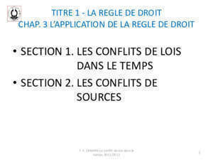 33 lois guerre : INTRODUCTION AU DROIT CIVIL TITREII LES REGLES FSJP
