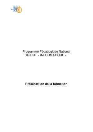 Brogramation informatique : Programme Pédagogique National du DUT « INFORMATIQUE