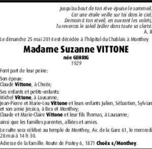 Madame Suzanne VITTONE - Hommages.ch
