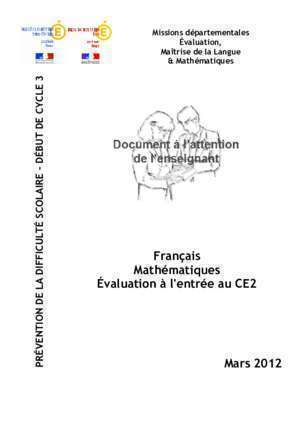Evaluation accord au sein du groupe nominal ce2 : Évaluation CE2 MARS 2012 Circonscription Éducation Nationale