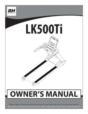 owner's manual - BH Fitness