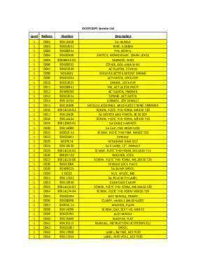 Balloon frame : DCST920P1 Service List Level Balloon Number Description