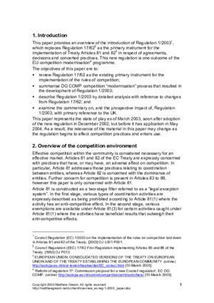 1 2003 : An overview of EC Regulation 1 2003 as the new