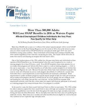 500000 : More Than 500,000 Adults Will Lose SNAP Benefits in 2016