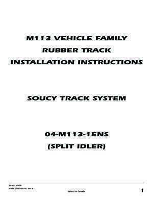 M113 VEHICLE FAMILY RUBBER TRACK INSTALLATION INSTRUCTIONS