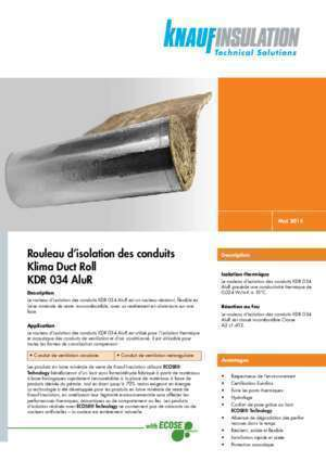 Rouleau d'isolation des conduits Klima Duct Roll KDR 034 AluR
