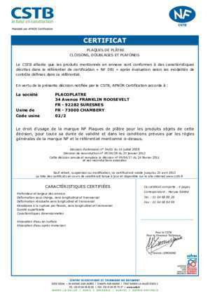 73000 CHAMBERY Code usine 02/2 Le droit - CSTB