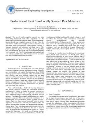10412 : Production of Paint from Locally Sourced Raw
