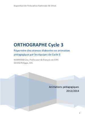 Evaluation accord au sein du groupe nominal ce2 : ORTHOGRAPHE Cycle 3 Académie de Nancy-Metz