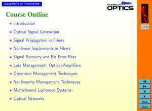 Ask et psk : Optical Communication Systems (OPT428 )