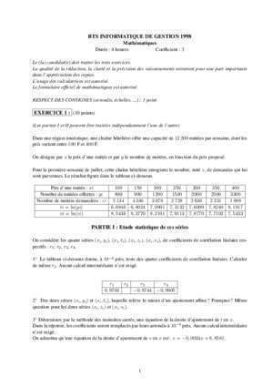Bts hotellerie 1998 : BTS INFORMATIQUE DE GESTION 1998 EXERCICE 1 (10 points