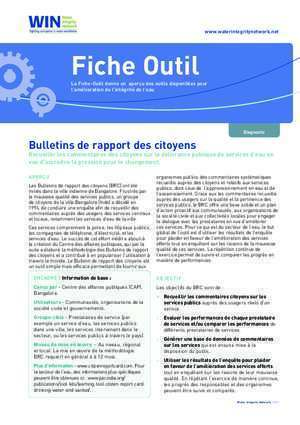 Brc ces : Fiche Outil Water Integrity Network