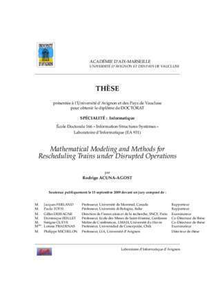 Alfa matematicas 3 : Mathematical modeling and methods for rescheduling trains Hal